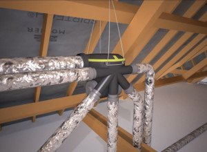 La soluzione più semplice ed immediata di completamento, per chi ha a disposizione un solaio, consiste nell'installazione di un piccolo impianto VMC a singolo flusso con bocchette igroregolabili, che richiede una posa limitata di canalizzazioni (Aldes).