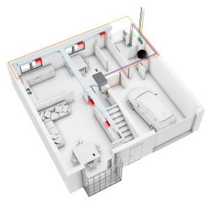Molti impianti ad espansione diretta utilizzano come unità interne fan coil canalizzabili: non si eliminano quindi le condotte ma la loro estensione è più contenuta rispetto ad un impianto a tutta aria. Alcune unità di questo tipo possono gestire anche l'apporto di aria esterna e sono dotate di recuperatore di calore.