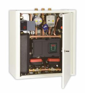 Modulo satellite ad acque separate, con doppio scambiatore di calore a piastre, per riscaldamento e produzione di acqua calda (Comparato).