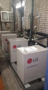 Fig. 3 - Unità idronica Hydro box di LG Electronics. I sistemi VRF si stanno arricchendo via via di nuovi accessori come le unità idroniche in grado di trasferire calore dal circuito del refrigerante a differenti utenze che utilizzano l'acqua come fluido vettore.
