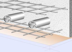 I tubi del sistema Concretcool sono realizzati in alluminio estruso e sono dotati di lamelle interne per aumentare la trasmissione di calore tra aria e solaio.