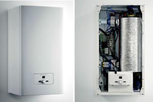 Oltre allo scambiatore termico cilindrico con le resistenze elettriche, la caldaia elettrica è completa di circolatore per riscaldamento, vaso di espansione e di tutti i dispositivi di controllo e sicurezza (Vaillant).
