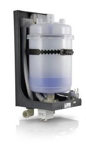 Umidificatore ad elettrodi immersi in versione OEM: vista del cilindro e dell'elettrovalvola di alimentazione (Carel).