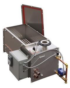 Umidificatore a vapore. Se nella struttura è disponibile un circuito di vapore, viene semplice produrre il vapore per l'umificazione attraverso uno scambiatore vapore-vapore. La portata oraria prodotta dall'apparecchiatura è di 726 kg/h (DriSteem).