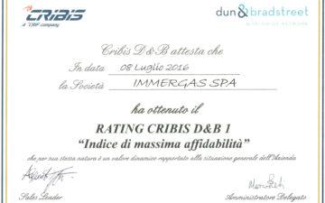 """Massimo livello di affidabilità finanziaria per Immergas Spa che riceve il """"Cribis D&B rating 1"""""""