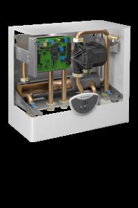 Il modulo universale per il riscaldamento domestico e la produzione di acqua calda sanitaria consente di abbinare il sistema a pompa di calore aria/acqua ad una qualunque caldaia mista.