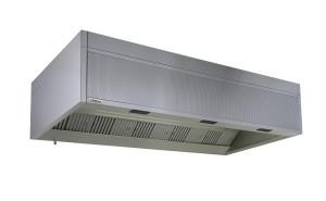 Cappa cubica a copertura integrale. Si noti la presenza della sezione filtrante per l'abbattimento dei grassi e sul perimetro interno una serie di ugelli in grado di assicurare una cortina d'aria integrata al fine di separare la cappa dall'ambiente cucina. (Halton).