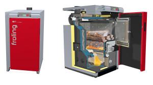 Innovativa caldaia a legna, con regolazione automatica dell'aria primaria, di quella secondaria e di quella per l'accensione. Vano di carico per ciocchi lunghi fino a 56 cm. Sportelli dei vani di carico e di pulizia raffreddati ad acqua. Gamma potenza nominale 15 – 20 kW. Rendimento nominale 92,5% (Fröling).