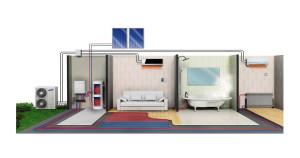 Gli impianti a pompa di calore permettono oggi di provvedere a tutti i fabbisogni di riscaldamento e raffrescamento di un edificio. A completamento di una reale climatizzazione, rimane solo da provvedere ad un corretto ricambio d'aria e al controllo dell'umidità relativa (Samsung).