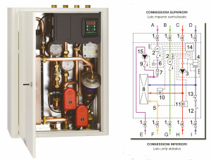 Modulo satellite e relativo schema idraulico, per riscaldamento e produzione di ACS localizzata istantanea, tramite scambiatore di calore a piastre (Comparato).
